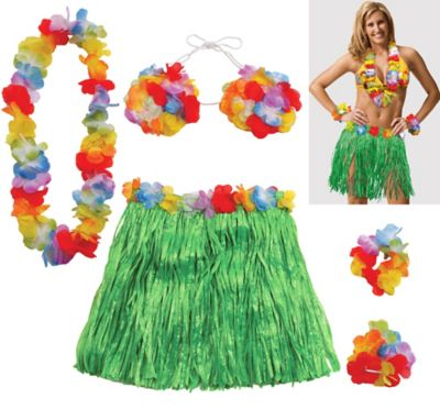 Adult Large Hula Skirt Kit 5pc Party City