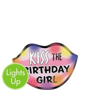 Light-Up Kiss the Birthday Girl Button