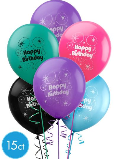 Happy Birthday Balloons 15ct - Party Time