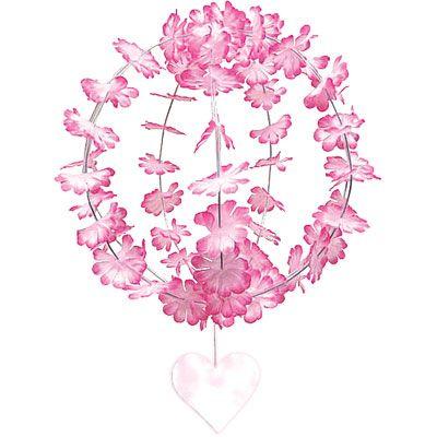 Pink Hanging Flower Sphere 10in