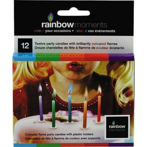 Multicolor Colored Flame Candles 12ct