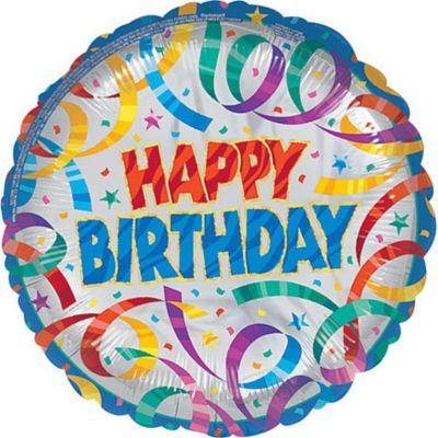 Party Streamers Happy Birthday Balloon
