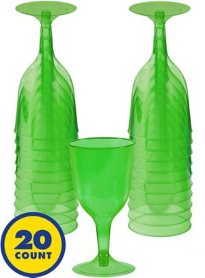 Transparent Kiwi Plastic Wine Glasses 20ct