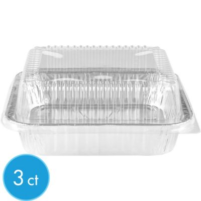 Aluminum Square Cake Pans with Lids 3ct