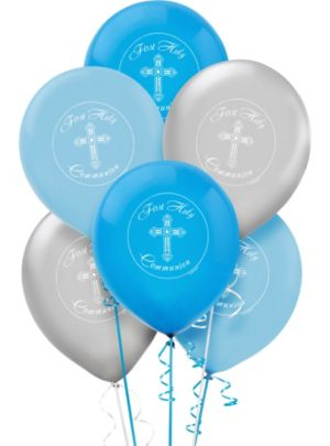 First Communion Balloons 15ct - Blue