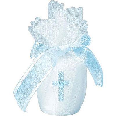 Blue Votive Candle with Cross