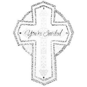 Jumbo Sparkle Cross Religous Invitations 8ct
