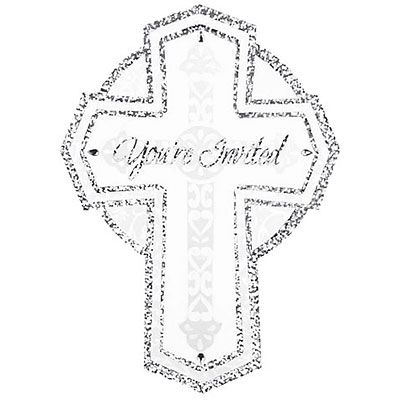Jumbo Sparkle Cross Religous Invitations 8ct