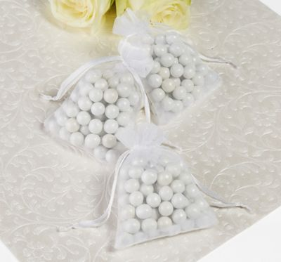 White Organza Wedding Favor Bags