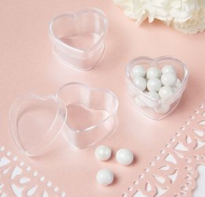 Mini CLEAR Heart Wedding Favor Boxes 24ct