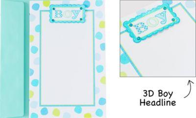 Blue Baby Dot Printable Invitations 12ct