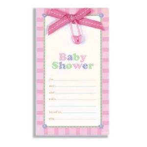 Pink Safety Pin Baby Shower Embellished Invitations 8ct