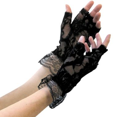 Black Lace Fingerless Gloves