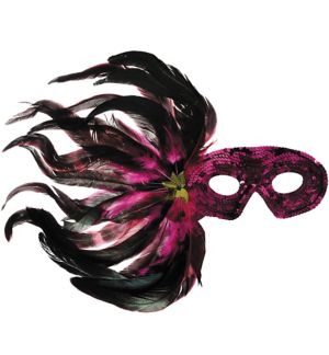 Pink & Black Sequin Feather Masquerade Mask
