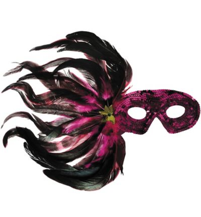 Hot Pink Sequin Feather Mardi Gras Mask