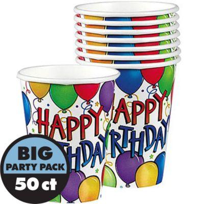 Balloon Fun Happy Birthday Cups 50ct