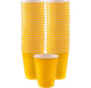BOGO Sunshine Yellow Plastic Cups 16oz 50ct