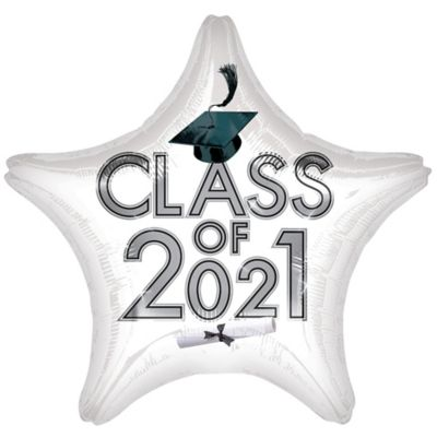 Star Class of 2015 White Graduation Balloon