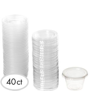 CLEAR Plastic Jelly Shot Cups with Lids 40ct