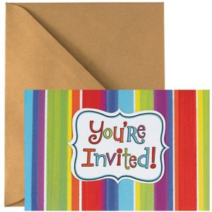 Celebration Stripe Invitations 50ct
