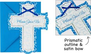 Premium Prismatic Blue Cross Invitations 8ct