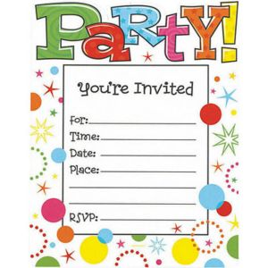 Party Time Invitations 20ct
