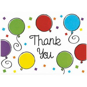 Balloon Thank You Notes 20ct