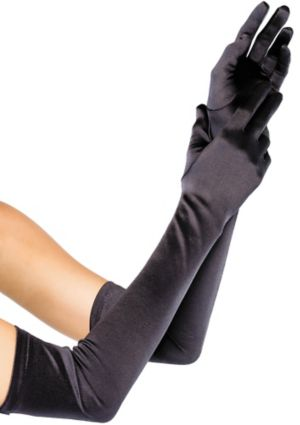 Extra Long Black Satin Gloves