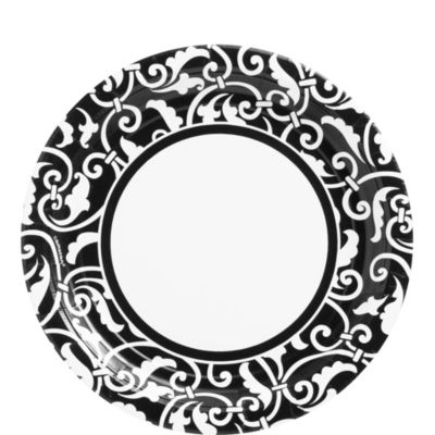Black Ornamental Scroll Lunch Plates 8ct