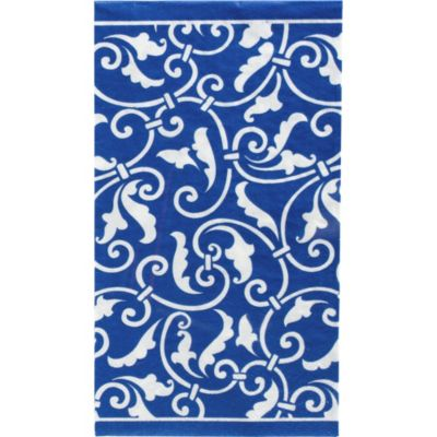 Royal Blue Ornamental Scroll Guest Towels 16ct