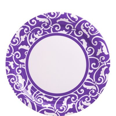 Purple Ornamental Scroll Lunch Plates 8ct