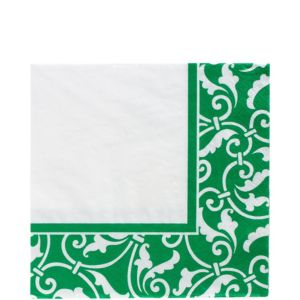 Festive Green Ornamental Scroll Lunch Napkins 16ct