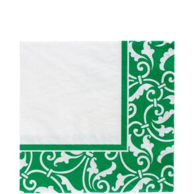 Festive Green Ornamental Scroll Lunch Napkins 16ct