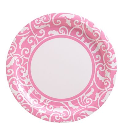 Pink Ornamental Scroll Lunch Plates 8ct