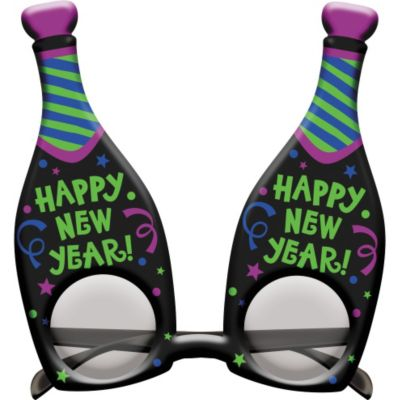 Happy New Year Champagne Bottle Glasses