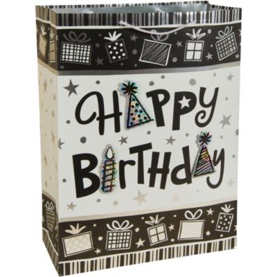 3D Black and White Birthday Gift Bag