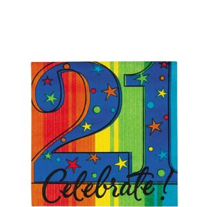 A Year to Celebrate 21st Birthday Beverage Napkins 16ct