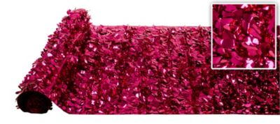 Bright Pink Metallic Floral Sheeting 15ft