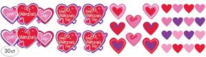 Valentine's Day Heart Cutouts 30ct