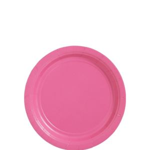 Big Party Pack Bright Pink Paper Dessert Plates 50ct