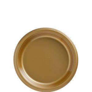 Big Party Pack Gold Plastic Dessert Plates 50ct