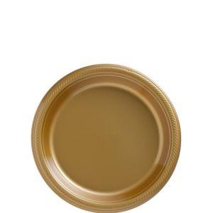 Gold Plastic Dessert Plates 50ct
