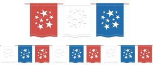Patriotic Red, White & Blue Flag Pennant Banner