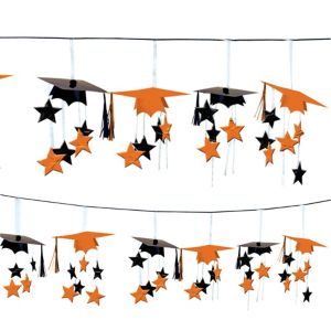 Orange 3D Grad Cap Graduation Garland