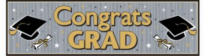 Black & Gold Graduation Banner
