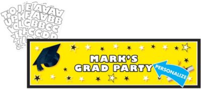 Yellow Personalized Graduation Banner