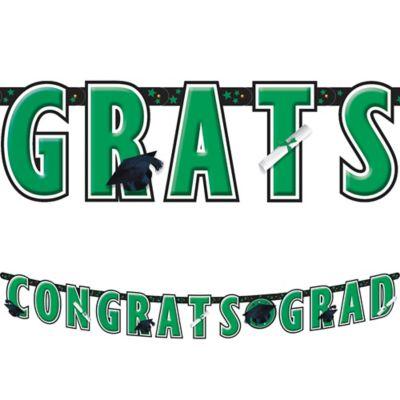 Green Graduation Letter Banner