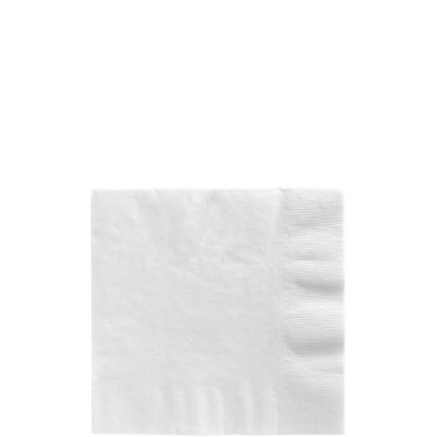 White Beverage Napkins 50ct