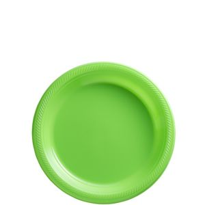 Big Party Pack Kiwi Green Plastic Dessert Plates 50ct