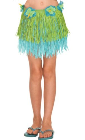 Child Blue Amp Green Mini Hula Skirt 12in Party City